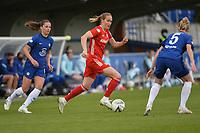 2nd May 2021; Kingsmeadow, London, England;  Melanie Leupolz CFC, 8, Sydney Lohmann FCB, 12, Sophie Ingle CFC during the UEFA Womens Champions League, Chelsea FC verus FC Bayern Munich