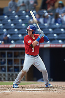 Reese McGuire (3) of the Buffalo Bison at bat against the Durham Bulls at Durham Bulls Athletic Park on April 25, 2018 in Allentown, Pennsylvania.  The Bison defeated the Bulls 5-2.  (Brian Westerholt/Four Seam Images)