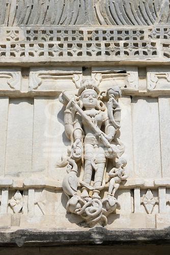 India; road from Udaipur to Jodhpur. Ranakpur Jain Temple. Carved detail Thar Desert.