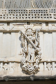 India; road from Udaipur to Jodhpur. Ranakpur Jain Temple. Carved detail Thar Desert.