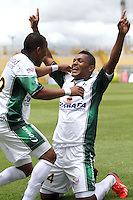 BOGOTA -COLOMBIA- 25-08-2013. Miguel Borja   de La Equidad Fútbol Club  celebra su gol  contra   el Boyacá Chico , partido correspondiente a la   sexta fecha de la Liga Postobón segundo semestre disputado en el estadio de Techo /Miguel Borja of La Equidad Football Club celebrates his goal against the Boyaca Chico XXXXXX, game in the sixth round of the second half Postobón League match at the Techo  Stadium .Photo: VizzorImage /Felipe Caicedo  / STAFF