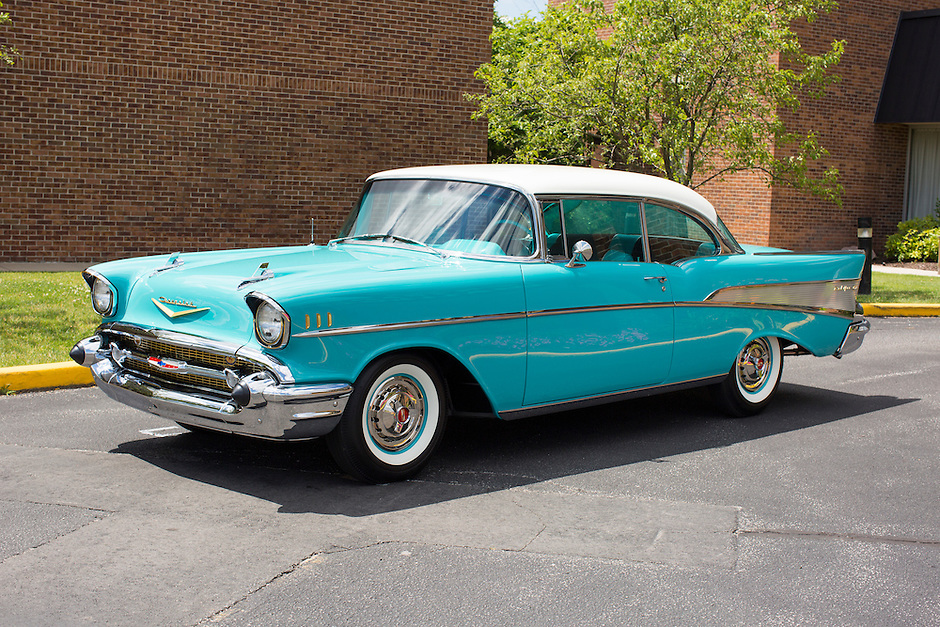 1957 Trailered Restored Senior (#96) – 1957 Chevrolet Bel Air 2-Door Hardtop registered to John Evans is pictured during 4th State Representative Chevy Show on Friday, July 1, 2016, in Fort Wayne, Indiana. (Photo by James Brosher)