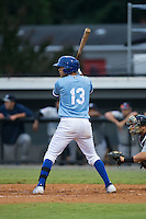 Angelo Castellano (13) of the Burlington Royals at bat against the Pulaski Yankees at Burlington Athletic Park on August 6, 2015 in Burlington, North Carolina.  The Royals defeated the Yankees 1-0. (Brian Westerholt/Four Seam Images)