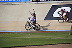 John Degenkolb (GER) Giant-Alpecin outsprints Zdenek Stybar (CZE) Etixx-Quick Step and Greg Van Avermaet (BEL)BMC Racing Team in the famous Roubaix Velodrome to win the 113th edition of the Paris-Roubaix 2015 cycle race held over the cobbled roads of Northern France. 12th April 2015.<br /> Photo: Eoin Clarke www.newsfile.ie