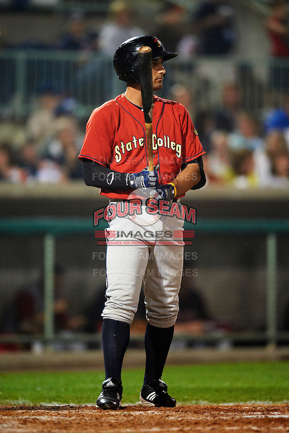 State College Spikes third baseman D.J. Crumlich #29 during the NY-Penn League All-Star Game at Eastwood Field on August 14, 2012 in Niles, Ohio.  National League defeated the American League 8-1.  (Mike Janes/Four Seam Images)