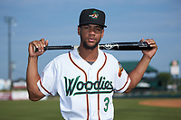 Leody Taveras (3) of the Down East Wood Ducks poses for a photo prior to the game against the Winston-Salem Dash at Grainger Stadium Field on May 17, 2019 in Kinston, North Carolina. The Dash defeated the Wood Ducks 8-2. (Brian Westerholt/Four Seam Images)