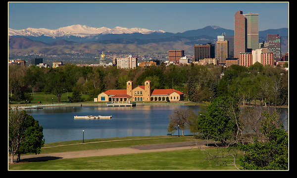 Downtown Denver from the Museum of Nature and Science, City Park, Colorado. Denver tours.
