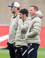 14th September 2021: The  AXA Academy, Kirkby, Knowsley, Merseyside, England: Liverpool FC training ahead of Champions League game versus AC Milan on 15th September: Liverpool manager Jurgen Klopp watches the session with assistants Vitor Matos and Pepijn Lijnders