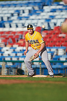 Siena Saints first baseman Joe Drpich (47) waits for a throw during a game against the Pittsburgh Panthers on February 24, 2017 at Historic Dodgertown in Vero Beach, Florida.  Pittsburgh defeated Siena 8-2.  (Mike Janes/Four Seam Images)