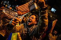 BOGOTA - COLOMBIA, 07-02-2019: Se lleva a cabo marcha y plantón hoy, 07 de enero de 2019, en contra de la guerra, exigiendo que Estados Unidos y Colombia no intervengan en la situación actual de Venezuela en la embajada de Estados Unidos en la ciudad de Bogota. / A sit-down to demonstrate their nonconformity with the war is held today, January 7th, 2019, demanding that the United States and Colombia nonintervention in the current situation of Venezuela in front of the United States Embassy in the city of Bogota. Photo: VizzorImage / Diego Cuevas / Cont.