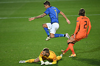 Lorenzo Pellegrini of Italy scores a goal<br /> during the Uefa Nation League Group Stage A1 football match between Italy and Netherlands at Atleti azzurri d Italia Stadium in Bergamo (Italy), October, 14, 2020. Photo Andrea Staccioli / Insidefoto