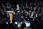© Joel Goodman - 07973 332324 . 28/03/2015 . Manchester , UK . Chancellor GEORGE OSBORNE speaks at the Conservative Party Spring Forum at the Old Granada Studios , Quay Street , Manchester . Photo credit : Joel Goodman