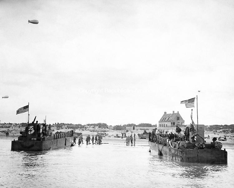 Pair of landing craft hit Utah Beach in Normandy, France, June 1944. (AP Photo)