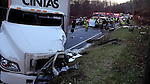 NORFOLK, CT, 30 DEC 13- 123113AJ01- A man was killed Monday in a crash on Route 44 in Norfolk. The box truck pictured collided with a SUV at 3:21 p.m. Contributed/ Norfolk Fire Department
