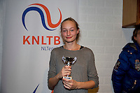 November 30, 2014, Almere, Tennis, Winter Youth Circuit, WJC,  Prizegiving, Femke Mars 8th place 14 years<br /> Photo: Henk Koster