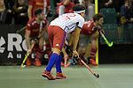 GER - Muelheim an der Ruhr, Germany, February 04: During the FinalFour semi-final men hockey match between Club an der Alster (red) and Mannheimer HC (white) on February 4, 2017 at innogy Sporthalle in Muelheim an der Ruhr, Germany. (Photo by Dirk Markgraf / www.265-images.com) *** Local caption *** Danny Nguyen #22 of Mannheimer HC