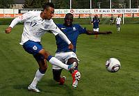 Soccer, UEFA U-17.France Vs. England.Benjamin Mendy, right and  Nathan Redmond.Indjija, 03.05.2011..foto: Srdjan Stevanovic