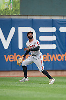 Altoona Curve outfielder Bralin Jackson (5) catches a fly ball during an Eastern League game against the Erie SeaWolves on June 5, 2019 at UPMC Park in Erie, Pennsylvania.  Altoona defeated Erie 6-2.  (Mike Janes/Four Seam Images)