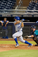 AZL Royals first baseman Brady Cox (12) at bat against the AZL Mariners on July 29, 2017 at Peoria Stadium in Peoria, Arizona. AZL Royals defeated the AZL Mariners 11-4. (Zachary Lucy/Four Seam Images)