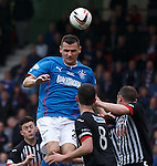 """Rangers captain Lee McCulloch wearing number 2 with a special inscription on his shirt """"Sandy Jardine, 1948-2014, Forever in Blue"""""""