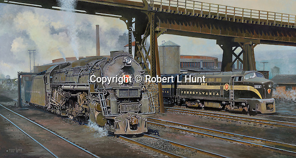 """A Pennsylvania Railroad Shark diesel waiting for orders and J1 steam locomotive taking on water from a standpipe near the Juniata Shops and roundhouse. Oil on canvas, 22"""" x 41""""."""