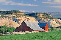 Ranch, barn and Boulder Mountain<br />   from near Boulder<br /> Escalante River Basin<br /> Colorado Plateau,  Utah