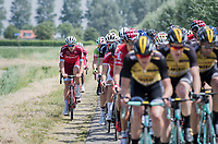 Team Katusha taking to the gravel path next to the road to move up the peloton<br /> <br /> Ster ZLM Tour (2.1)<br /> Stage 2: Tholen > Hoogerheide (186.8km)