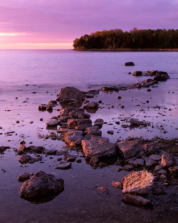 Sunset glow on Lake Michigan at Peninsula State Park; Door County, WI