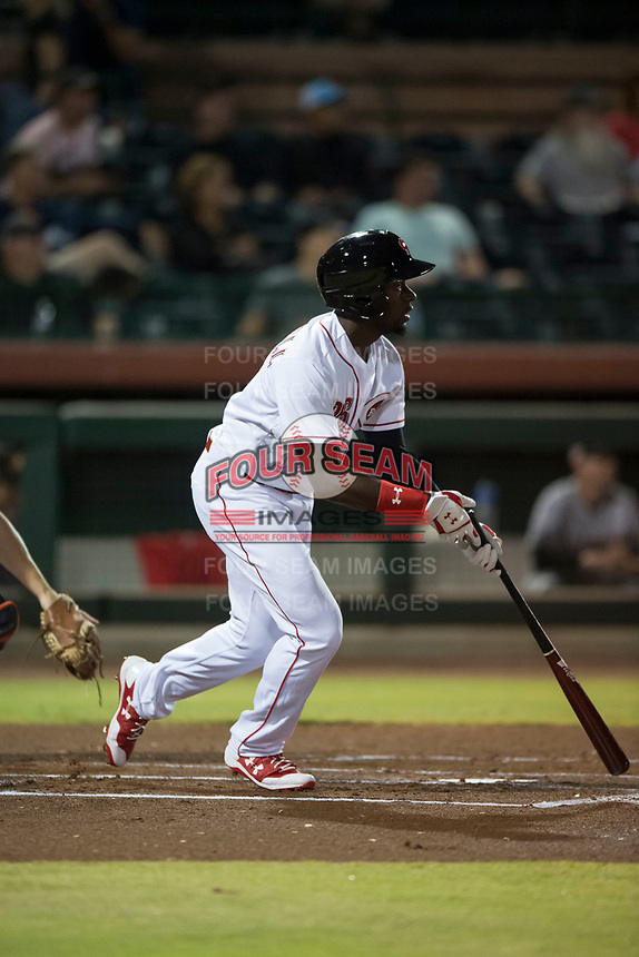 Scottsdale Scorpions left fielder Taylor Trammell (26), of the Cincinnati Reds organization, starts down the first base line during an Arizona Fall League game against the Mesa Solar Sox on October 9, 2018 at Scottsdale Stadium in Scottsdale, Arizona. The Solar Sox defeated the Scorpions 4-3. (Zachary Lucy/Four Seam Images)