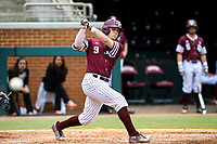 Texas A&M Aggies outfielder Zach DeLoach (9) in action against the Tennessee Volunteers in Southeastern Conference play at Lindsey Nelson Stadium in Knoxville, Tennessee, on April 22, 2018. Tennessee beat Texas A&M 6-4. (Danny Parker/Four Seam Images)