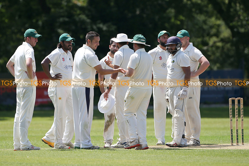 Harold Wood players celebrate taking the wicket of Adnan Akram during Wanstead and Snaresbrook CC vs Harold Wood CC, Hamro Foundation Essex League Cricket at Overton Drive on 17th July 2021