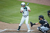 Hunter Baker (45) of the Charlotte 49ers at bat against the Appalachian State Mountaineers at Atrium Health Ballpark on March 23, 2021 in Kannapolis, North Carolina. (Brian Westerholt/Four Seam Images)