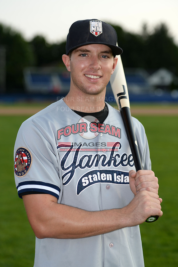 Staten Island Yankees outfielder Austin Aune (22) poses for a photo before a game against the Batavia Muckdogs on August 8, 2014 at Dwyer Stadium in Batavia, New York.  Staten Island defeated Batavia 4-2.  (Mike Janes/Four Seam Images)