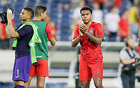 NASHVILLE, TENN - JULY 03: Weston McKennie #8 and the USMNT celebrate their Semifinal victory over Jamaica during a 2019 CONCACAF Gold Cup Semifinal match between the United States and Jamaica at Nissan Stadium on July 03, 2019 in Nashville, Tennessee.