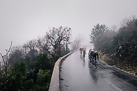 thinned down peloton moving through the torrential rains<br /> <br /> 76th Paris-Nice 2018<br /> Stage 8: Nice > Nice (110km)