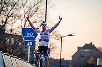 Eli Iserbyt (BEL/Pauwels Sauzen-Bingoal) crossing the finish line victoriously<br /> <br /> 2020 Urban Cross Kortrijk (BEL)<br /> men's race<br /> <br /> ©kramon