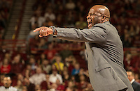 NWA Democrat-Gazette/ANTHONY REYES • @NWATONYR<br /> Mike Anderson, Arkansas head coach, reacts to a foul against Tennessee Tuesday, Jan. 27, 2015 in Bud Walton Arena in Fayetteville. The Razorbacks won 69-64.