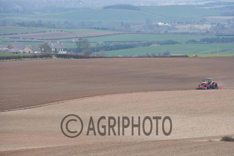 29.3.2011 Massey Ferguson tractor drilling Spring cereals in the Scottish Borders.©Tim Scrivener 07850 303986.