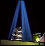 """""""Tribute in Light"""" Memorial near Ground Zero, to commemorate 6 month anniversary of the attack on the World Trade Center on 9/11/2001."""