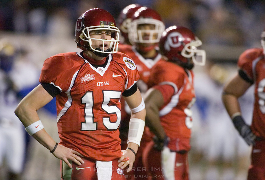 23 December 2006: Utah quarterback Brent Ratliff (#15) looks to the sidelines for a play call during the 2006 Bell Helicopters Armed Forces Bowl between The University of Tulsa and The University of Utah at Amon G. Carter Stadium in Fort Worth, TX.