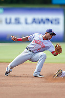 Hagerstown Suns shortstop Wilmer Difo (6) fields a throw at second base during the game against the Kannapolis Intimidators at CMC-Northeast Stadium on June 1, 2014 in Kannapolis, North Carolina.  The Intimidators defeated the Suns 5-1 in game one of a double-header.  (Brian Westerholt/Four Seam Images)