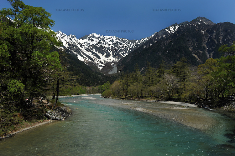 View of Kamikochi from Kappa bridge. Kamikochi National Park. Japanese Alps. Nagano. Japan.<br /> <br /> Vue de Kamikochi du pont de Kappa. Parc national de Kamikochi. Alpes japonaises. Nagano. Japon.