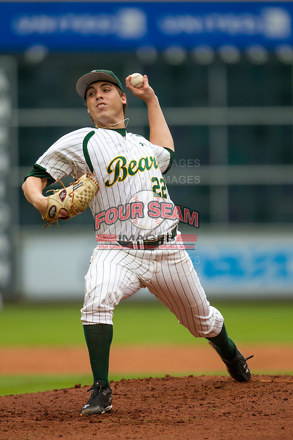 Baylor Bears pitcher Daniel Castano (22) delivers a pitch to the plate during the NCAA baseball game against the LSU Tigers on March 7, 2015 in the Houston College Classic at Minute Maid Park in Houston, Texas. LSU defeated Baylor 2-0. (Andrew Woolley/Four Seam Images)