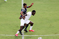 CARY, NC - AUGUST 01: Neco Brett #11 shields the ball away from Pecka #7 during a game between Birmingham Legion FC and North Carolina FC at Sahlen's Stadium at WakeMed Soccer Park on August 01, 2020 in Cary, North Carolina.