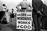 """Christian evangelical street meeting, """"Stand still and see the wondrous works of God."""" Southend on Sea, Essex, England. 1974"""