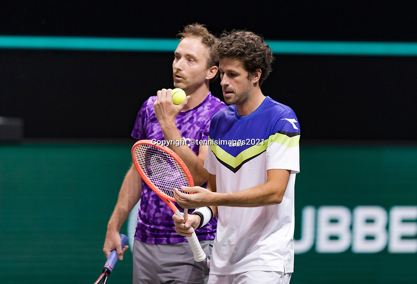 Rotterdam, The Netherlands, 2 march  2021, ABNAMRO World Tennis Tournament, Ahoy, First round doubles: Robin Haase (NED) / Matwe Middelkoop (NED).<br /> Photo: www.tennisimages.com/henkkoster