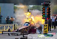 Jul 11, 2020; Clermont, Indiana, USA; NHRA top fuel driver Kyle Wurtzel explodes an engine on fire during qualifying for the E3 Spark Plugs Nationals at Lucas Oil Raceway. This is the first race back for NHRA since the start of the COVID-19 global pandemic. Mandatory Credit: Mark J. Rebilas-USA TODAY Sports