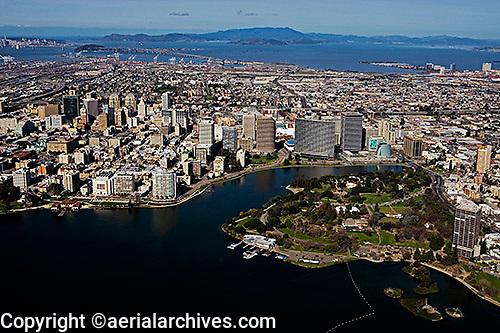aerial photograph Lake Merritt waterfront high rise buildings including Kaiser Center, Oakland, California