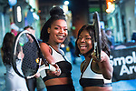 © Joel Goodman - 07973 332324 . 27/12/2017. Wigan, UK. Venus and Serena Williams . Revellers in Wigan enjoy Boxing Day drinks and clubbing in Wigan Wallgate . In recent years a tradition has been established in which people go out wearing fancy-dress costumes on Boxing Day night . Photo credit : Joel Goodman