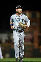 Peoria Javelinas right fielder Eric Filia (4), of the Seattle Mariners organization, jogs off the field between innings of an Arizona Fall League game against the Scottsdale Scorpions on October 20, 2017 at Scottsdale Stadium in Scottsdale, Arizona. the Javelinas defeated the Scorpions 2-0. (Zachary Lucy/Four Seam Images)